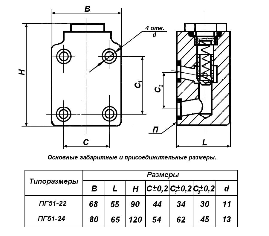 Гидроклапаны обратные тип ПГ51-22, ПГ51-24, ПГ51-32, ПГ51-34